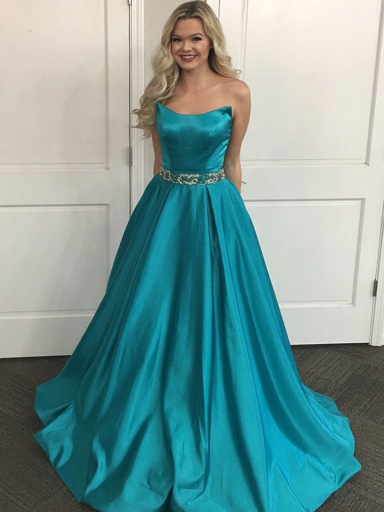 BohoProm prom dresses A-line Off-Shoulder Chapel Train Satin Rhine Stone Beaded Prom Dresses 2858