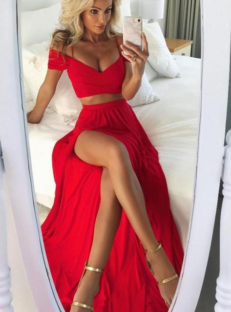 BohoProm prom dresses A-line Off-Shoulder Floor-Length Chiffon Red Simple Two Piece Prom Dresses HX0071