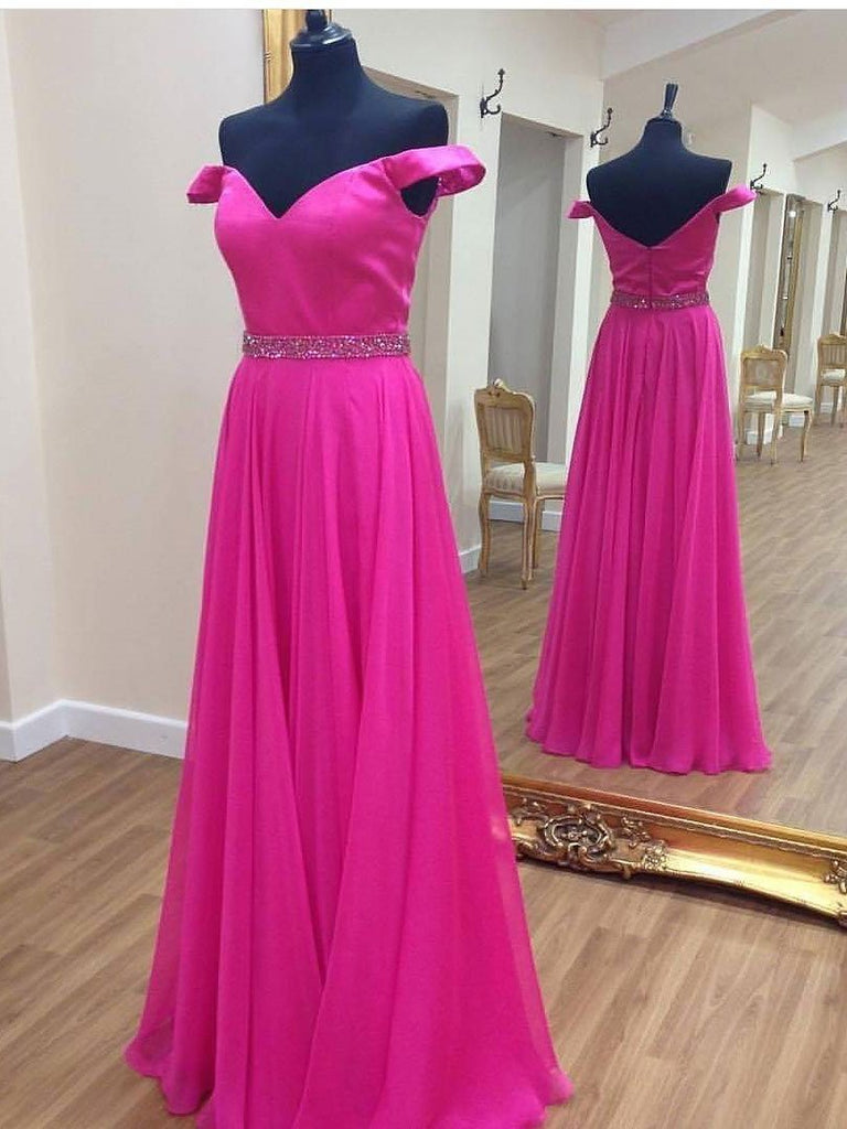 BohoProm prom dresses A-line  Off-Shoulder Floor-Length Chiffon Rhine Stone Prom Dresses 2847