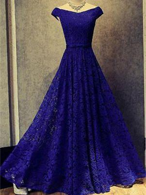 BohoProm prom dresses A-line Off-Shoulder Floor-Length Lace Royal Blue Prom Dresses HX00107