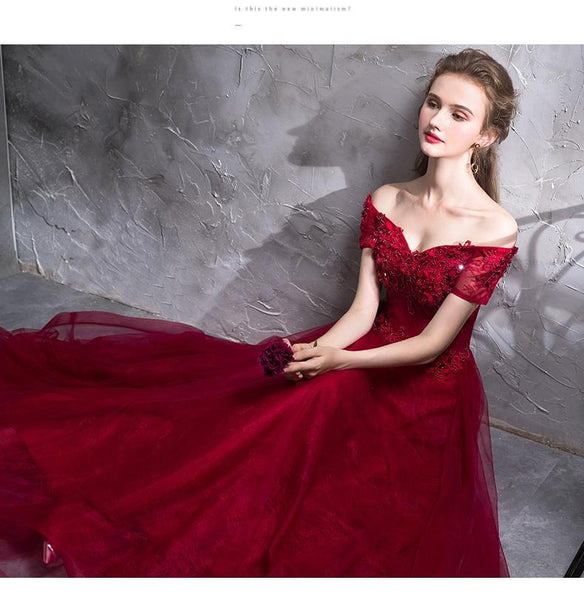 BohoProm prom dresses A-line Off-Shoulder Floor-Length Tulle Appliqued Beaded Red Prom Dresses ASD27007