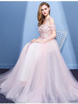 BohoProm prom dresses A-line Off-Shoulder Floor-Length Tulle Appliqued Pink Prom Dresses ASD26987