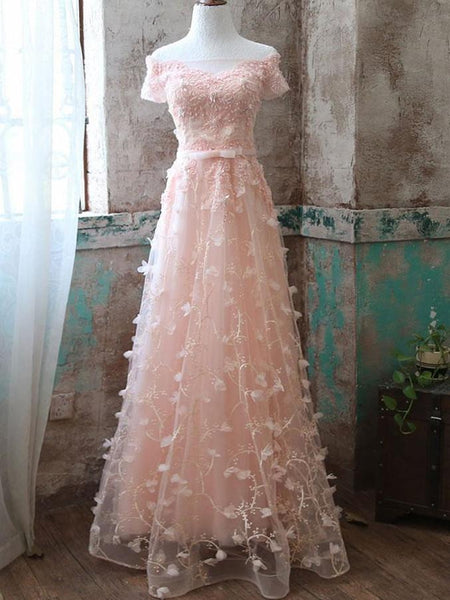BohoProm prom dresses A-line Off-Shoulder Floor-Length Tulle Appliqued Pink Prom Dresses HX0041