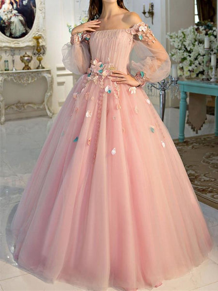 BohoProm prom dresses A-line Off-Shoulder Floor-Length Tulle Appliqued Pink Prom Dresses HX0042