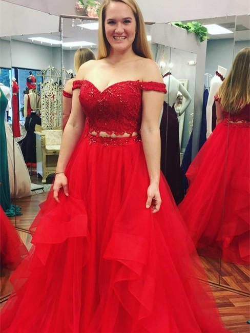 BohoProm prom dresses A-line Off-Shoulder Floor-Length Tulle Red Prom Dresses With Beading HX0082