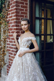 BohoProm prom dresses A-line Off-Shoulder Sweep Train Organza Elegant Prom Dresses HX00124