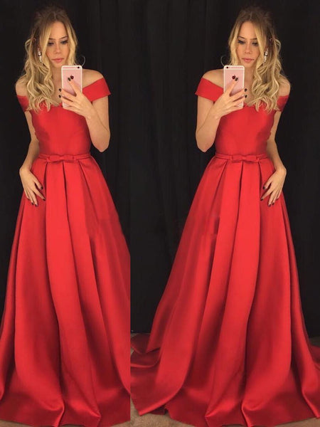 BohoProm prom dresses A-line Off-Shoulder Sweep Train Satin Red Prom Dresses 2821