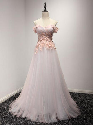 BohoProm prom dresses A-line Off-Shoulder Sweep Train Tulle Appliqued Beaded Prom Dresses ASD26770