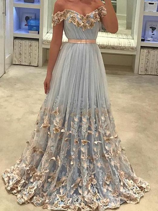 BohoProm prom dresses A-line Off-Shoulder Sweep Train Tulle Prom Dresses With Butterflies ASD26745