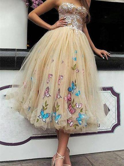 BohoProm prom dresses A-line Off-Shoulder Tea-Length Tulle Prom Dresses With Appliques HX00123
