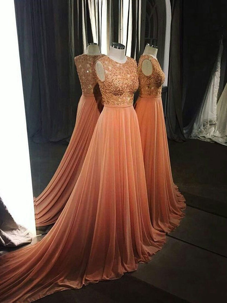 BohoProm prom dresses A-line Scoop-Neck Chapel Train Chiffon  Appliqued Elegant Prom Dresses 2784