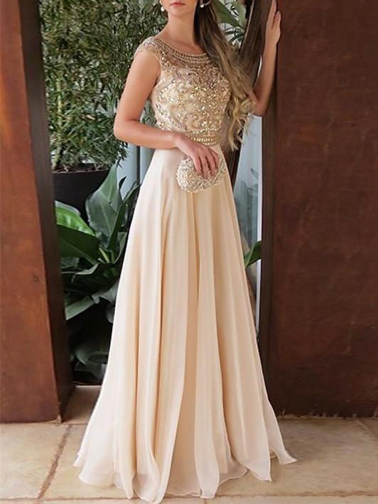 BohoProm prom dresses A-line Scoop Neck Floor-Length Chiffon Prom Dresses With Rhine Stones HX00119