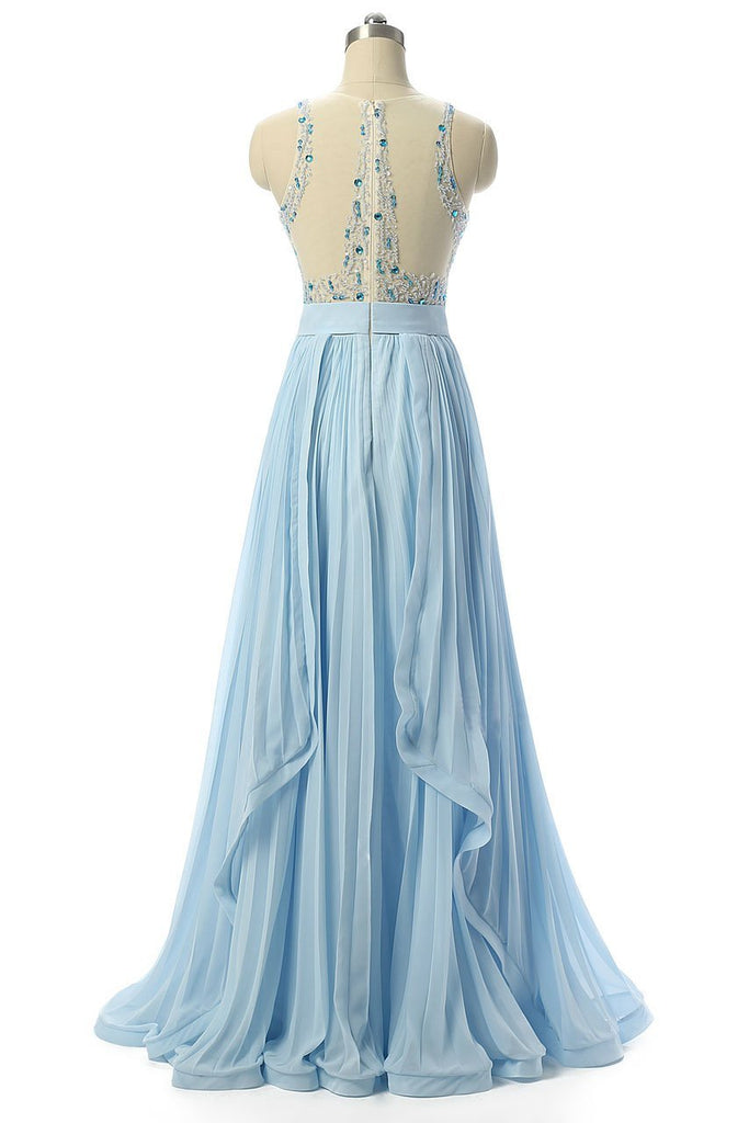 BohoProm prom dresses A-line Scoop-Neck Floor-Length Chiffon Prom Dresses With Rhine Stones HX0072