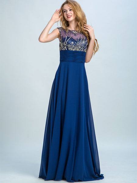 BohoProm prom dresses A-line Scoop-Neck Floor-Length Chiffon Rhine Stone Beaded Prom Dresses 2907