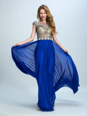 BohoProm prom dresses A-line Scoop-Neck Floor-Length Chiffon  Rhine Stone Beaded Prom Dresses 2909