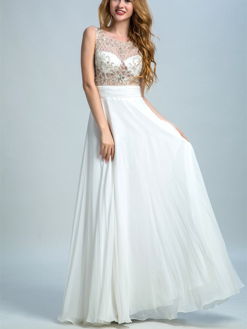 BohoProm prom dresses A-line Scoop-Neck Floor-Length Chiffon Rhine Stone Beaded  White Prom Dresses 2905
