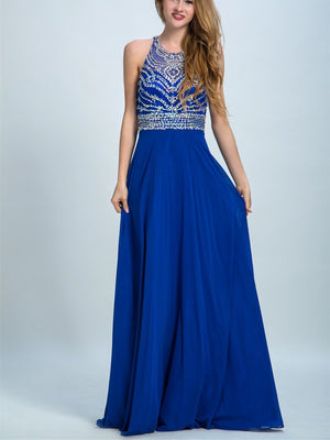 BohoProm prom dresses A-line Scoop-Neck Floor-Length Chiffon Rhine Stone  Royal Blue Prom Dresses 2920