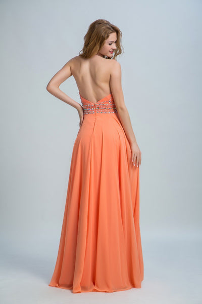 BohoProm prom dresses A-line Scoop-Neck  Floor-Length Chiffon Rhine Stone Sequined Prom Dresses 2901
