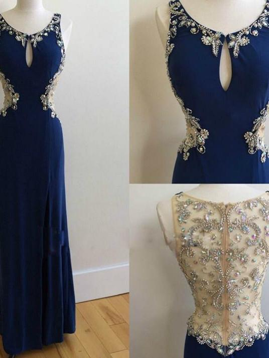 BohoProm prom dresses A-line Scoop-Neck Floor-Length Chiffon Royal Blue Prom Dresses With Beading ASD27107