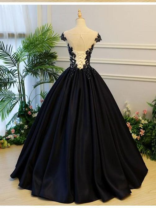 BohoProm prom dresses A-line Scoop-Neck Floor-Length Satin Long Black Prom Dresses HX00111