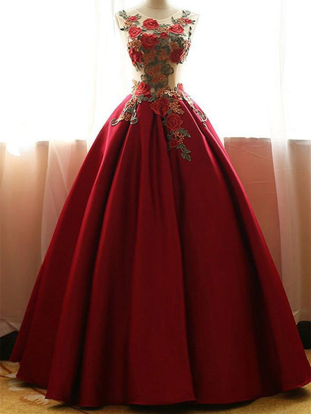 BohoProm prom dresses A-line Scoop-Neck Floor-length Satin Red Prom Dresses With Appliques HX00155