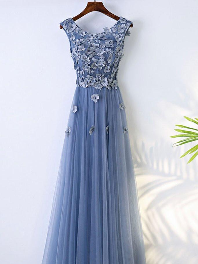BohoProm prom dresses A-line Scoop-neck Floor-Length Tulle Appliqued Beaded Prom Dresses ASD26820