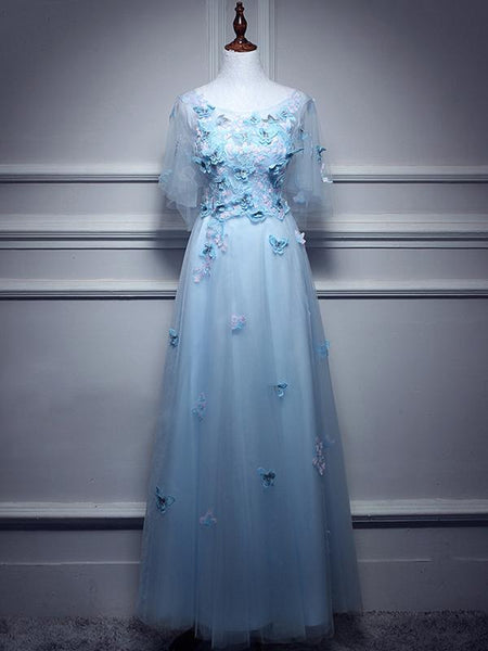 BohoProm prom dresses A-line Scoop-neck Floor-Length Tulle Appliqued Ink Blue Prom Dresses With Butterflies ASD26971