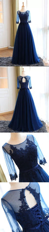 BohoProm prom dresses A-line  Scoop Neck  Floor-Length Tulle Appliqued Prom Dresses 2874