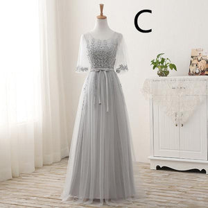 BohoProm prom dresses A-line Scoop-Neck Floor-Length Tulle Appliqued Prom Dresses ASD2585
