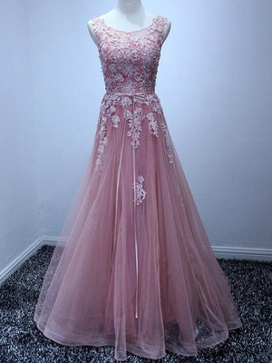 BohoProm prom dresses A-line Scoop-Neck Floor-Length Tulle Appliqued Prom Dresses ASD2619