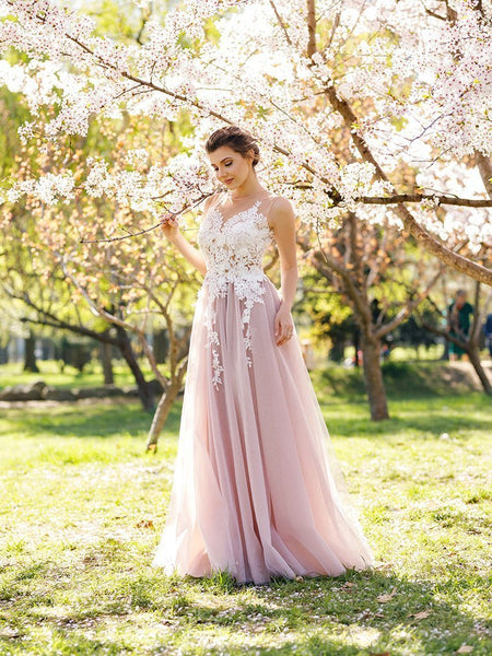 BohoProm prom dresses A-line Scoop-Neck Floor-Length Tulle Appliqued Prom Dresses ASD2648
