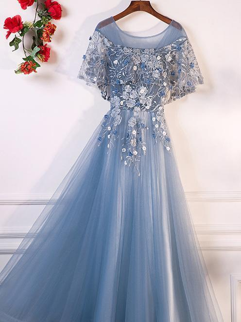BohoProm prom dresses A-line Scoop-neck Floor-Length Tulle Appliqued Prom Dresses ASD26883