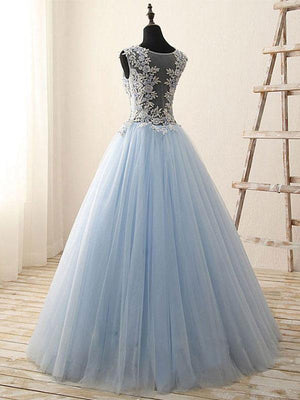 BohoProm prom dresses A-line Scoop-Neck Floor-Length Tulle Appliqued Rhine Stone Prom Dress 3114