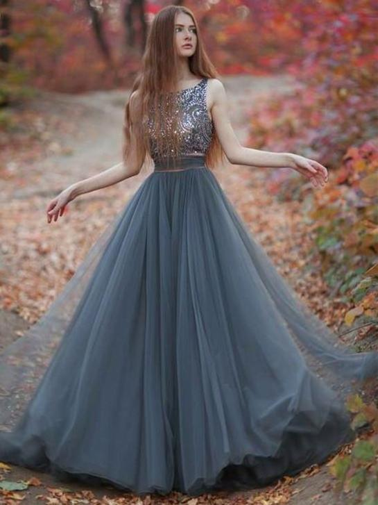 BohoProm prom dresses A-line Scoop-Neck Floor-Length Tulle Gray Prom Dresses HX00108