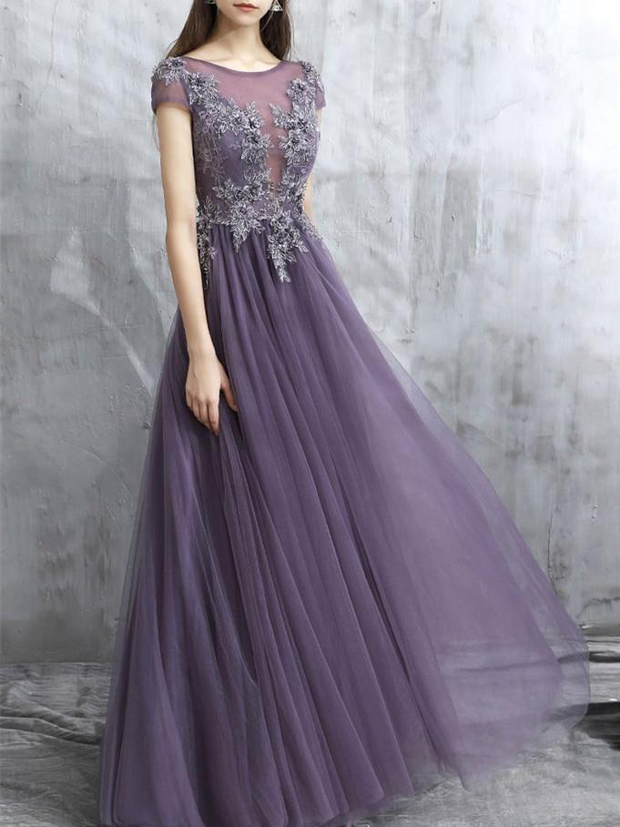 BohoProm prom dresses A-line Scoop-Neck Floor-Length Tulle Prom Dresses With Beading HX00174