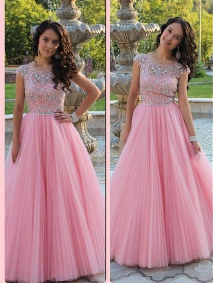 BohoProm prom dresses A-line Scoop-Neck Floor-Length Tulle Prom Dresses With Rhine Stones HX00133