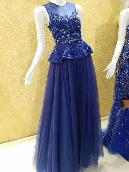 BohoProm prom dresses A-line Scoop-Neck Floor-Length Tulle Prom Dresses With Sequins HX0099