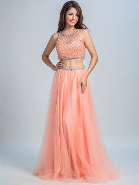 BohoProm prom dresses A-line Scoop-Neck Floor-Length Tulle  Rhine Stone Beaded Two Piece Prom Dresses 2908