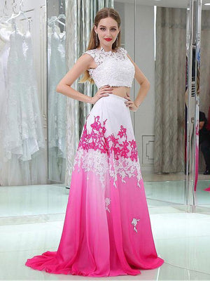 BohoProm prom dresses A-Line Scoop-neck Sweep Train Chiffon Appliqued Two Piece Prom Dress 3095