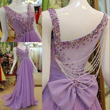 BohoProm prom dresses A-line Scoop-Neck Sweep Train Chiffon Lilac Prom Dresses With Crystal HX0098