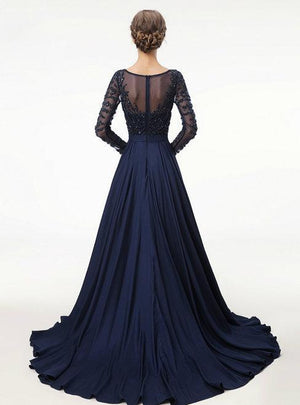 BohoProm prom dresses A-line Scoop-Neck Sweep Train Chiffon Long Prom Dresses With Beading HX0080