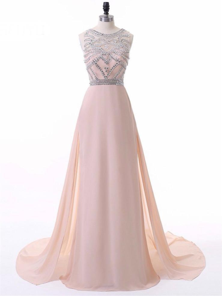 BohoProm prom dresses A-line Scoop-Neck Sweep Train Chiffon Pink Prom Dresses With Rhine Stones HX0083