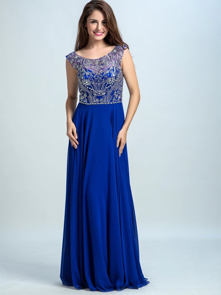 BohoProm prom dresses A-line Scoop-Neck Sweep Train Chiffon Rhine Stone  Beaded Royal Blue Prom Dresses 2926