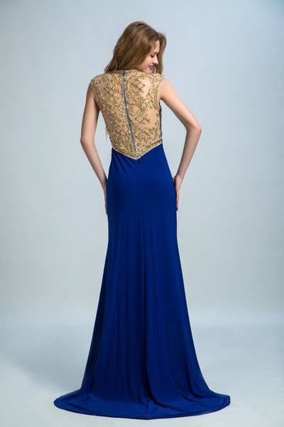 BohoProm prom dresses A-line Scoop-Neck Sweep Train Chiffon Rhine Stone  Beaded Royal Blue Prom Dresses 2927