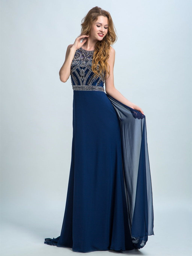 BohoProm prom dresses A-line Scoop-Neck Sweep Train Chiffon Rhine Stone  Prom Dresses 2899