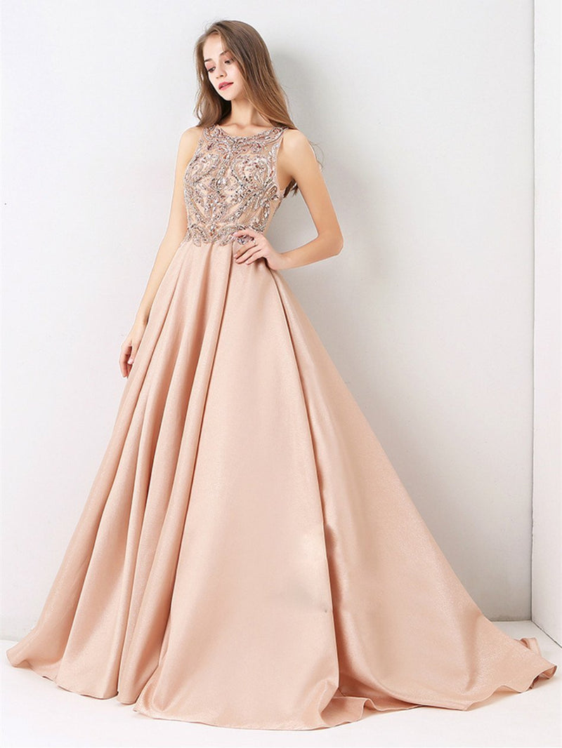 BohoProm prom dresses A-line Scoop-Neck Sweep Train Satin Long Prom Dresses With Rhine Stones HX0074