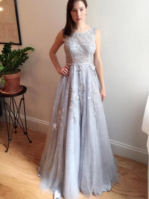 BohoProm prom dresses A-line Scoop-Neck Sweep Train Tulle Appliqued Prom Dresses ASD2625