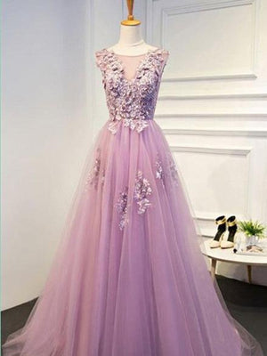 BohoProm prom dresses A-line Scoop-Neck Sweep Train Tulle Appliqued Prom Dresses ASD2635
