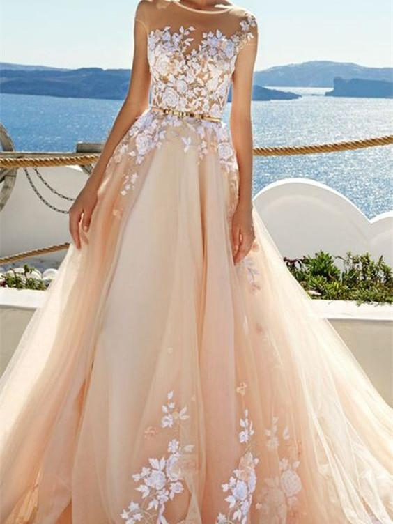 BohoProm prom dresses A-line Scoop-Neck Sweep Train Tulle Prom Dresses With Appliques HX00110