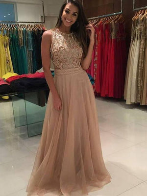 BohoProm prom dresses A-line Scoop-Neck Sweep Train Tulle Rhine Stone  Prom Dress 3080
